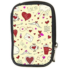 Valentinstag Love Hearts Pattern Red Yellow Compact Camera Cases by EDDArt