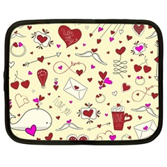 Valentinstag Love Hearts Pattern Red Yellow Netbook Case (xl)  by EDDArt