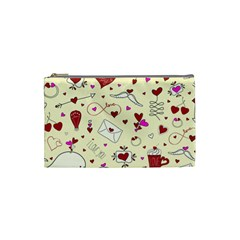 Valentinstag Love Hearts Pattern Red Yellow Cosmetic Bag (small)  by EDDArt
