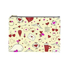 Valentinstag Love Hearts Pattern Red Yellow Cosmetic Bag (large)  by EDDArt