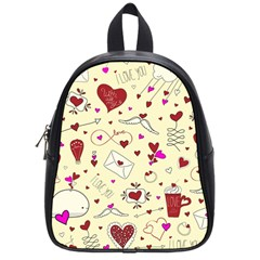 Valentinstag Love Hearts Pattern Red Yellow School Bags (small)  by EDDArt