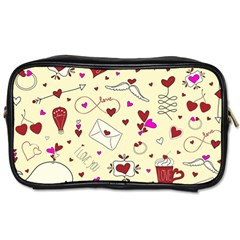 Valentinstag Love Hearts Pattern Red Yellow Toiletries Bags 2 Side by EDDArt