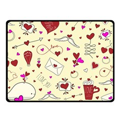 Valentinstag Love Hearts Pattern Red Yellow Fleece Blanket (small)