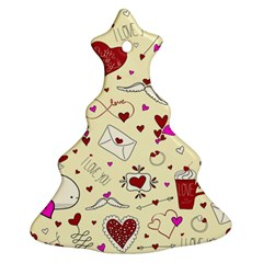 Valentinstag Love Hearts Pattern Red Yellow Ornament (christmas Tree)