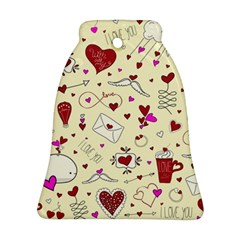 Valentinstag Love Hearts Pattern Red Yellow Ornament (bell)