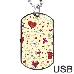Valentinstag Love Hearts Pattern Red Yellow Dog Tag Usb Flash (one Side) by EDDArt