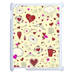 Valentinstag Love Hearts Pattern Red Yellow Apple Ipad 2 Case (white) by EDDArt