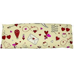 Valentinstag Love Hearts Pattern Red Yellow Body Pillow Case Dakimakura (two Sides) by EDDArt