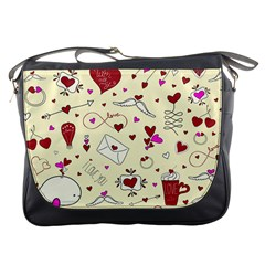 Valentinstag Love Hearts Pattern Red Yellow Messenger Bags