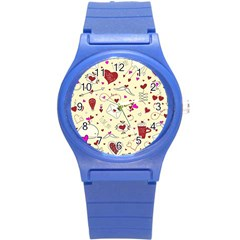 Valentinstag Love Hearts Pattern Red Yellow Round Plastic Sport Watch (s)