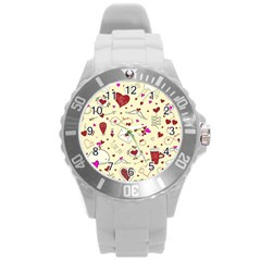 Valentinstag Love Hearts Pattern Red Yellow Round Plastic Sport Watch (l) by EDDArt