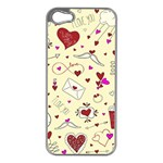 Valentinstag Love Hearts Pattern Red Yellow Apple iPhone 5 Case (Silver) Front