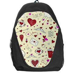 Valentinstag Love Hearts Pattern Red Yellow Backpack Bag by EDDArt