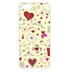 Valentinstag Love Hearts Pattern Red Yellow Apple Iphone 5 Seamless Case (white) by EDDArt