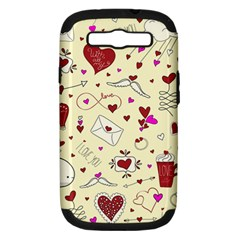Valentinstag Love Hearts Pattern Red Yellow Samsung Galaxy S Iii Hardshell Case (pc+silicone) by EDDArt