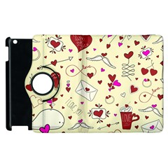 Valentinstag Love Hearts Pattern Red Yellow Apple Ipad 3/4 Flip 360 Case