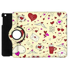 Valentinstag Love Hearts Pattern Red Yellow Apple Ipad Mini Flip 360 Case by EDDArt