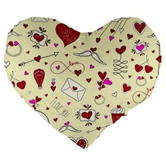 Valentinstag Love Hearts Pattern Red Yellow Large 19  Premium Heart Shape Cushions