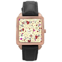 Valentinstag Love Hearts Pattern Red Yellow Rose Gold Leather Watch  by EDDArt