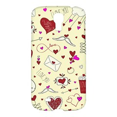 Valentinstag Love Hearts Pattern Red Yellow Samsung Galaxy S4 I9500/i9505 Hardshell Case by EDDArt