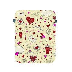 Valentinstag Love Hearts Pattern Red Yellow Apple Ipad 2/3/4 Protective Soft Cases by EDDArt