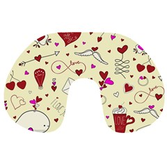 Valentinstag Love Hearts Pattern Red Yellow Travel Neck Pillows by EDDArt