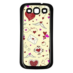 Valentinstag Love Hearts Pattern Red Yellow Samsung Galaxy S3 Back Case (black) by EDDArt