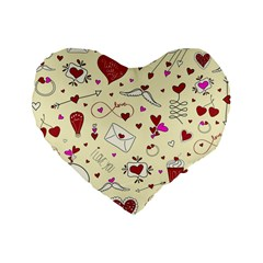 Valentinstag Love Hearts Pattern Red Yellow Standard 16  Premium Flano Heart Shape Cushions by EDDArt
