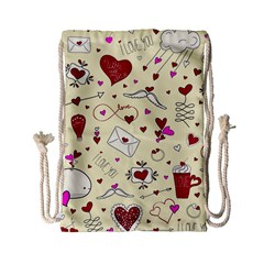 Valentinstag Love Hearts Pattern Red Yellow Drawstring Bag (small) by EDDArt