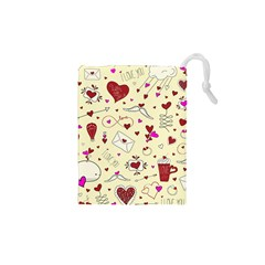 Valentinstag Love Hearts Pattern Red Yellow Drawstring Pouches (xs)  by EDDArt