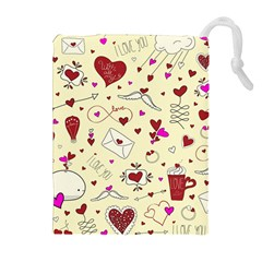 Valentinstag Love Hearts Pattern Red Yellow Drawstring Pouches (extra Large) by EDDArt