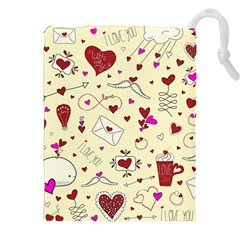 Valentinstag Love Hearts Pattern Red Yellow Drawstring Pouches (xxl) by EDDArt