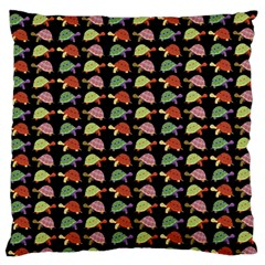 Turtle Pattern Large Flano Cushion Case (one Side) by Valentinaart
