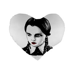 Wednesday Addams Standard 16  Premium Flano Heart Shape Cushions