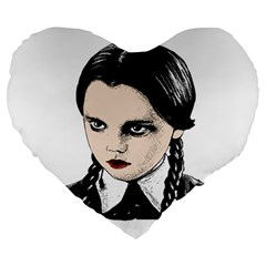 Wednesday Addams Large 19  Premium Heart Shape Cushions