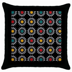 White Daisies Pattern Throw Pillow Case (black) by linceazul