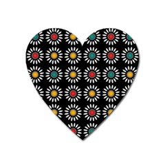 White Daisies Pattern Heart Magnet by linceazul