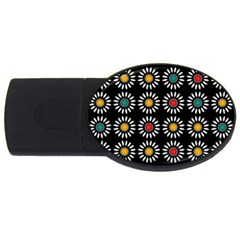 White Daisies Pattern Usb Flash Drive Oval (2 Gb) by linceazul