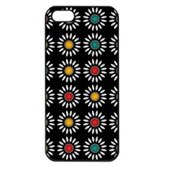 White Daisies Pattern Apple Iphone 5 Seamless Case (black) by linceazul