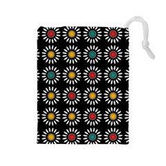 White Daisies Pattern Drawstring Pouches (large)  by linceazul