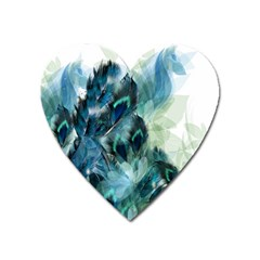 Flowers And Feathers Background Design Heart Magnet by TastefulDesigns