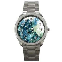Flowers And Feathers Background Design Sport Metal Watch by TastefulDesigns