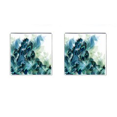 Flowers And Feathers Background Design Cufflinks (square) by TastefulDesigns