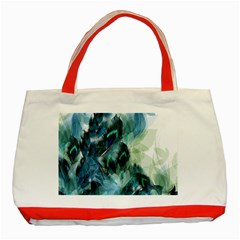 Flowers And Feathers Background Design Classic Tote Bag (red) by TastefulDesigns