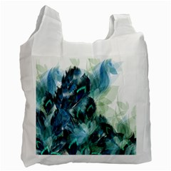 Flowers And Feathers Background Design Recycle Bag (one Side) by TastefulDesigns