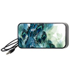 Flowers And Feathers Background Design Portable Speaker (black) by TastefulDesigns