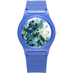 Flowers And Feathers Background Design Round Plastic Sport Watch (s) by TastefulDesigns