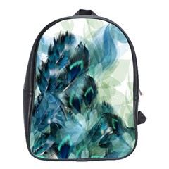 Flowers And Feathers Background Design School Bags (xl)  by TastefulDesigns