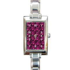 Skulls Pattern  Rectangle Italian Charm Watch