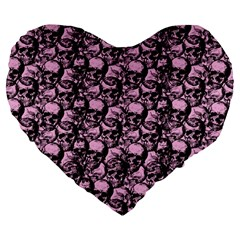 Skulls Pattern  Large 19  Premium Heart Shape Cushions by Valentinaart